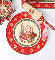 Тортовница фарфоровая с лопаткой Новогодняя 26 см 986-085