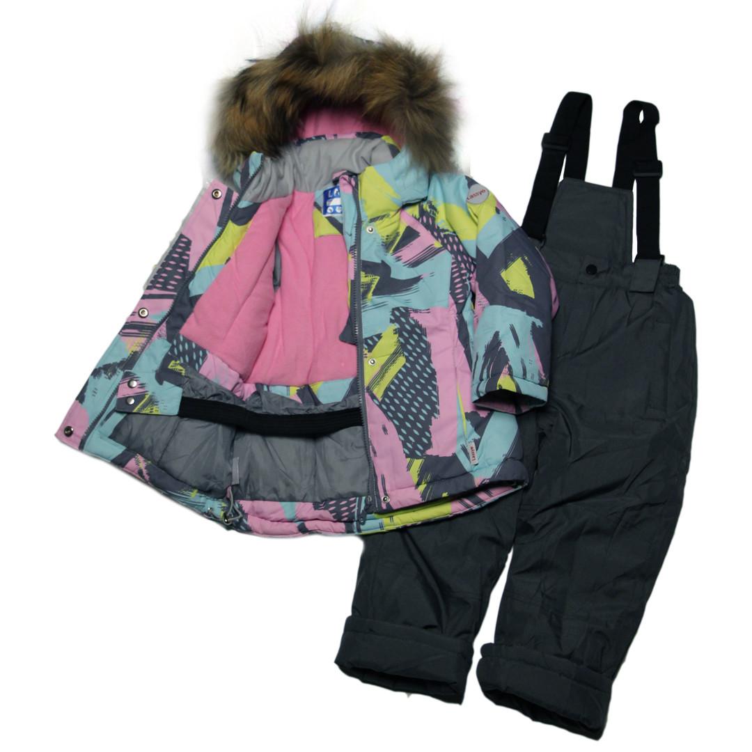 Детский зимний термо комплект мембрана для девочки 98-116 рост розовый