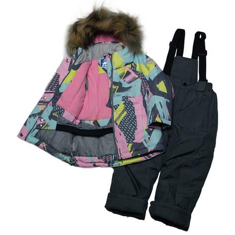 Детский зимний термо комплект мембрана для девочки 98-116 рост розовый, фото 2