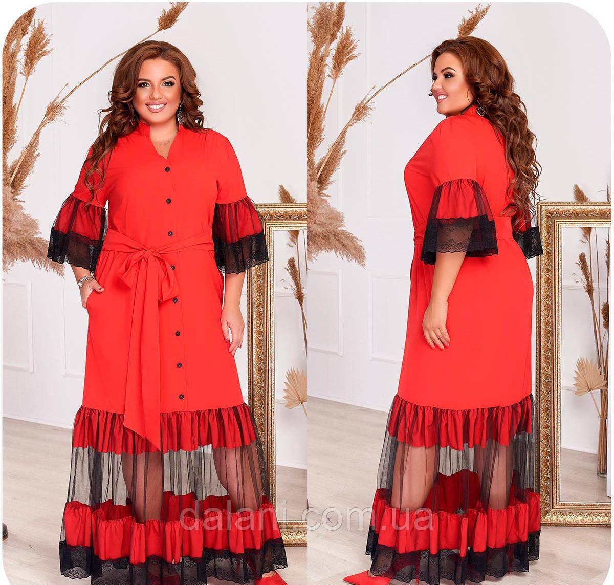 Красивое вечернее красное платье макси с сеткой