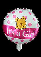 """Круг """"It's a girl"""" с мишкой 18""""(45см)"""