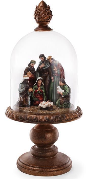 """Рождественское украшение """"Вертеп"""" 56см с LED-подсветкой и стеклянным колпаком"""