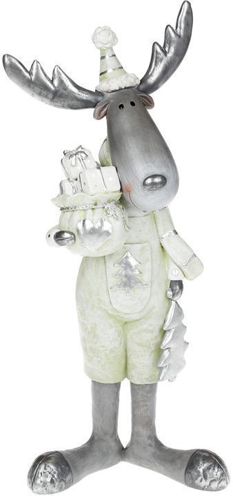 """Фигура декоративная """"Лось с подарками"""" 40.5см, в мятном комбинезоне"""