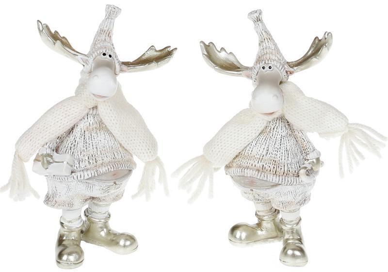 """Набор 2 фигурки декоративные """"Лоси в белых костюмах"""" 14см"""