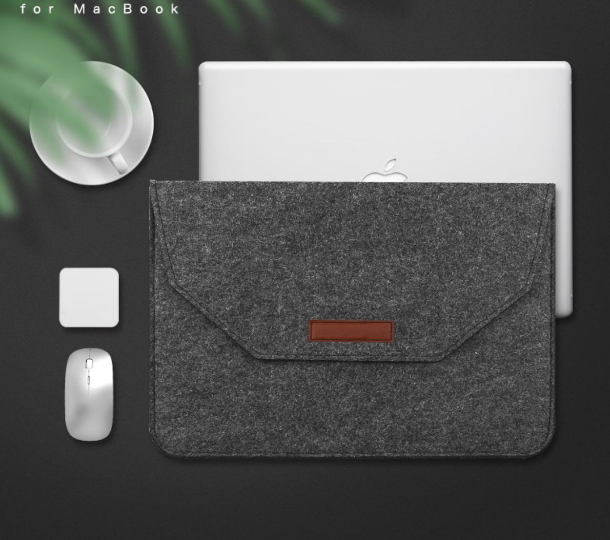 Чехол-конверт из фетра для Macbook 12/  Air11.6'' - темно серый