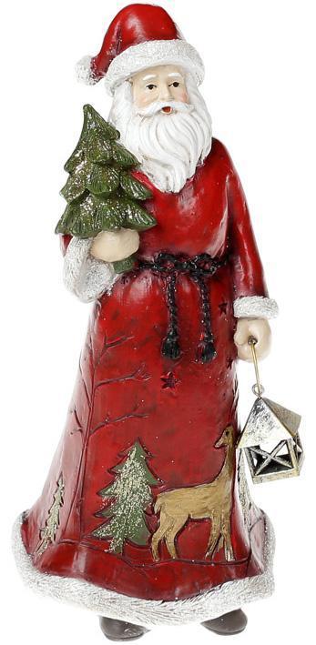 """Статуэтка декоративная """"Санта с елочкой"""" 22см, в красном"""