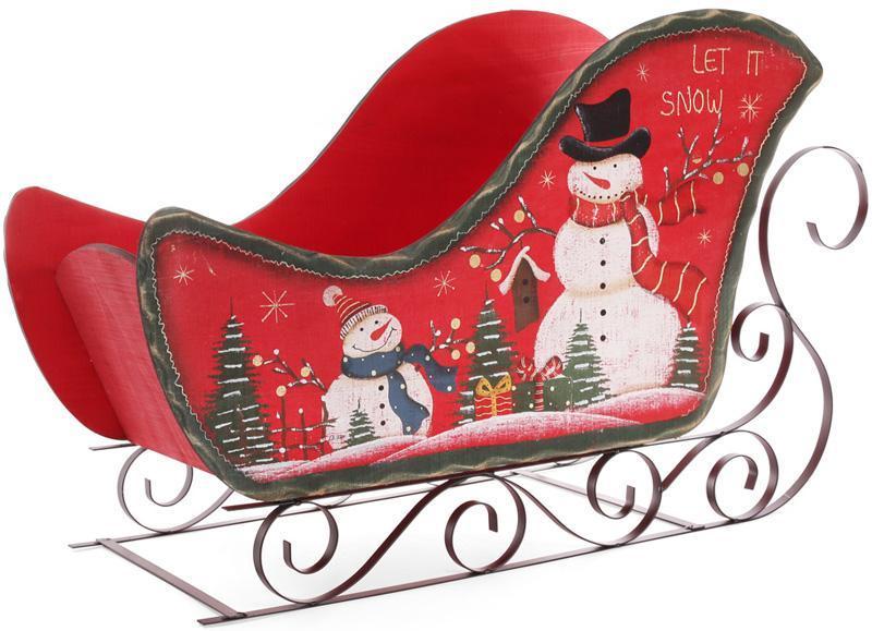 """Декоративные сани """"Let it snow"""" 73см дерево+металл, красные"""