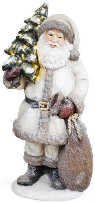 """Фигура декоративная """"Санта с елочкой"""" 80см, серый"""