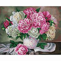 Алмазная живопись мозаика по номерам на холсте 40*50см BrushMe GF2843 Пышные пионы