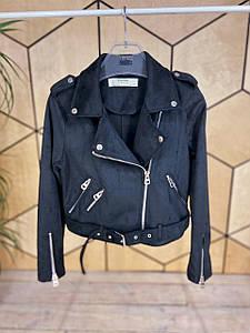 Модная женская замшевая куртка-косуха 42-44 р