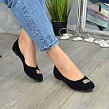 Туфли женские черные замшевые, декорированы металлическим бантиком, фото 7