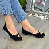 Туфли женские черные замшевые, декорированы металлическим бантиком, фото 8