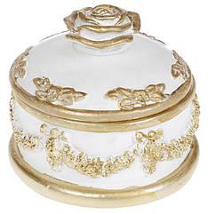 "Шкатулка для украшений ""Saaling"" Роза 10х10х9.5см, белый с золотом"