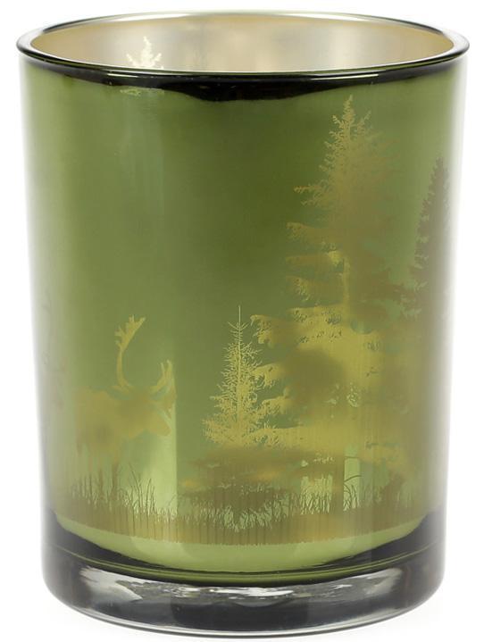 """Подсвечник стеклянный """"Таинственный Лес"""" 10х12.5см, зеленый"""