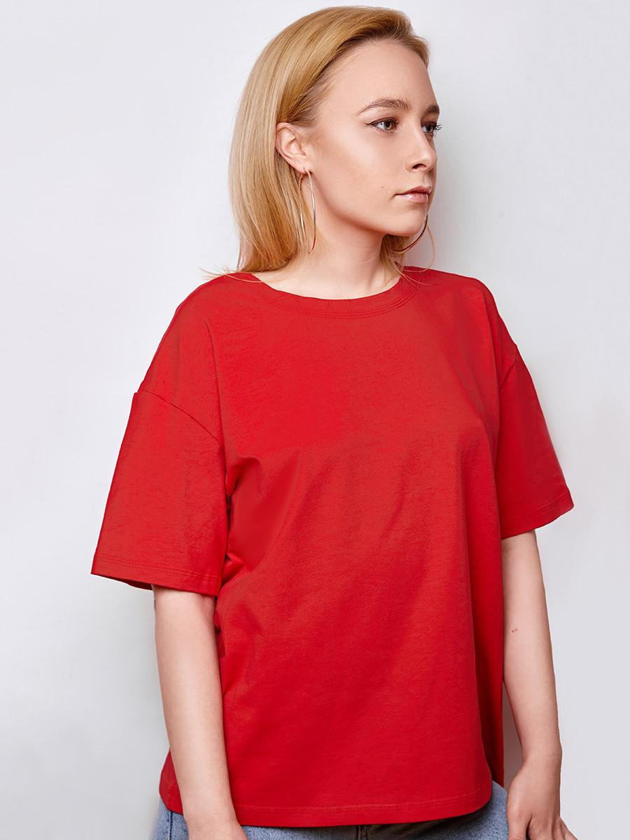 2433 футболка Oversize, красный (S)