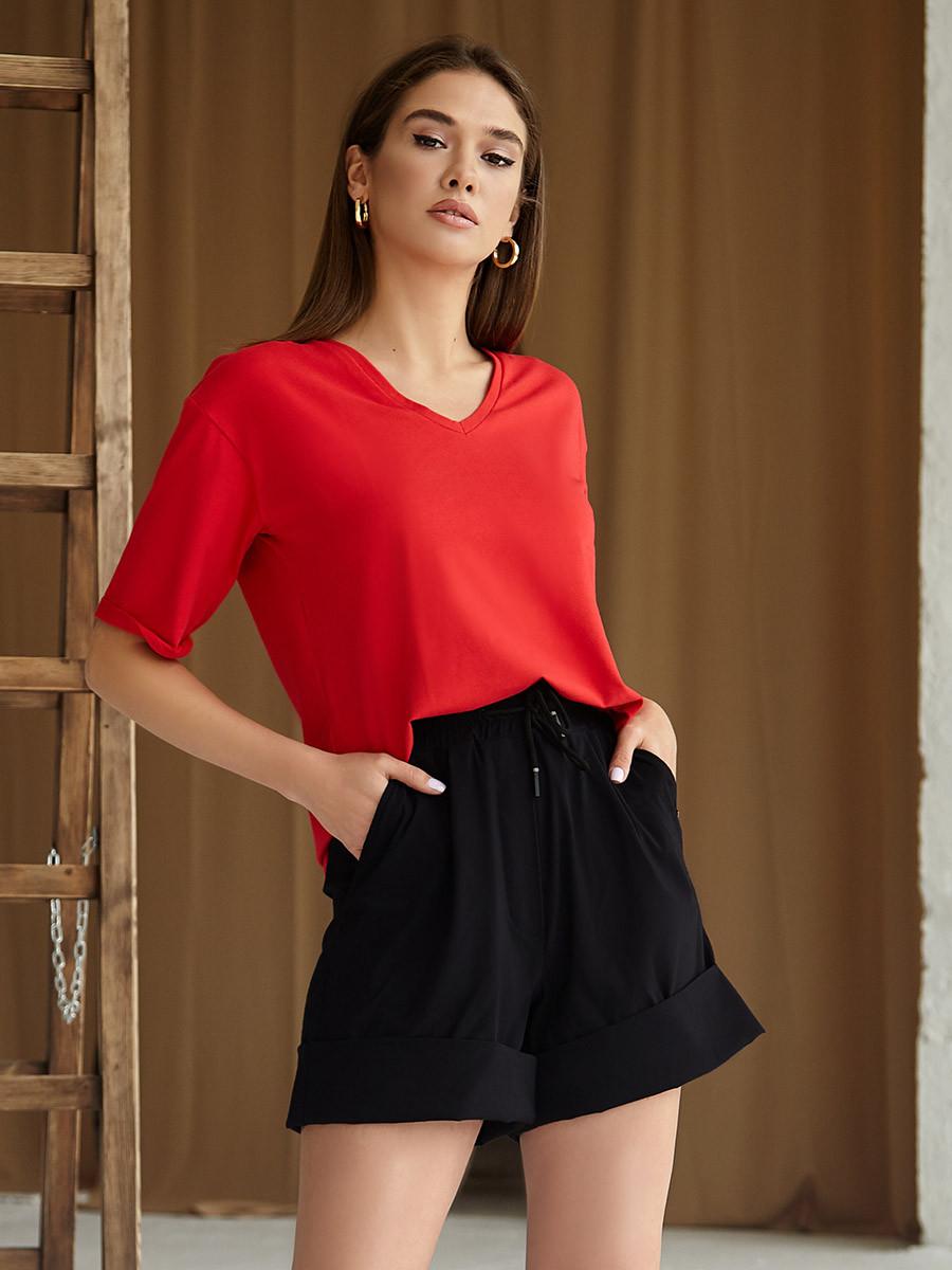 2434 футболка Oversize V-вырез, красный (S)