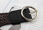 Ремень Пояс City-A Belt 105 см PU кожа Плетенка с круглой пряжкой Коричневый, фото 2