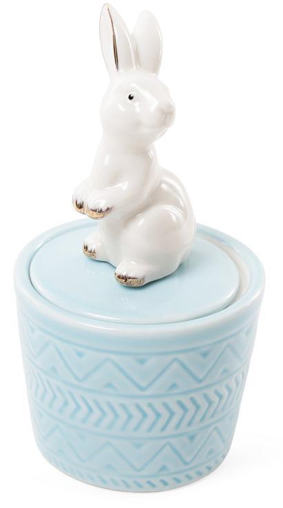 """Декоративная шкатулка-статуэтка """"Грациозный кролик"""" 7.3х7.3х13.5см, голубая"""