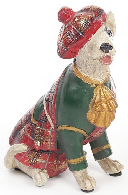 "Декоративная фигурка ""Собака шотландка в зеленом кафтане"" 15см"