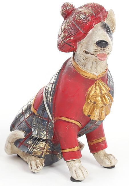 "Декоративная фигурка ""Собака шотландка в красном кафтане"" 15см"