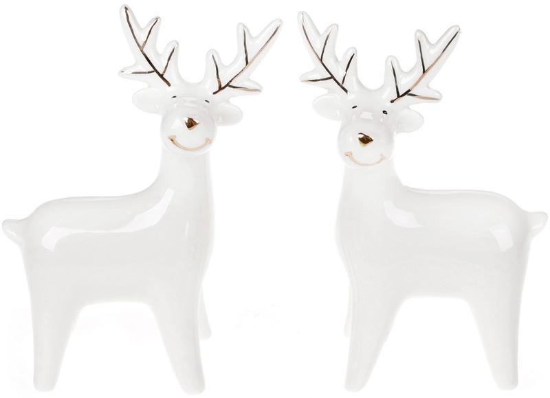 """Набор 2 декоративных фигурки """"Снежный олень"""" 13.4см, керамика"""