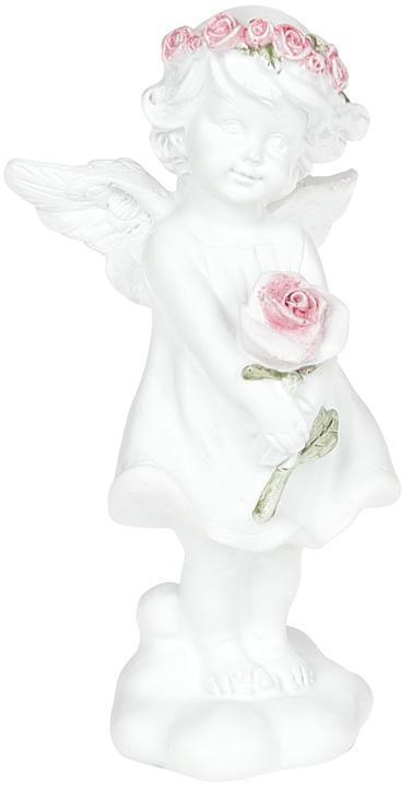 """Статуэтка декоративная """"Ангел с розой"""" 6.5х5.3х13см"""