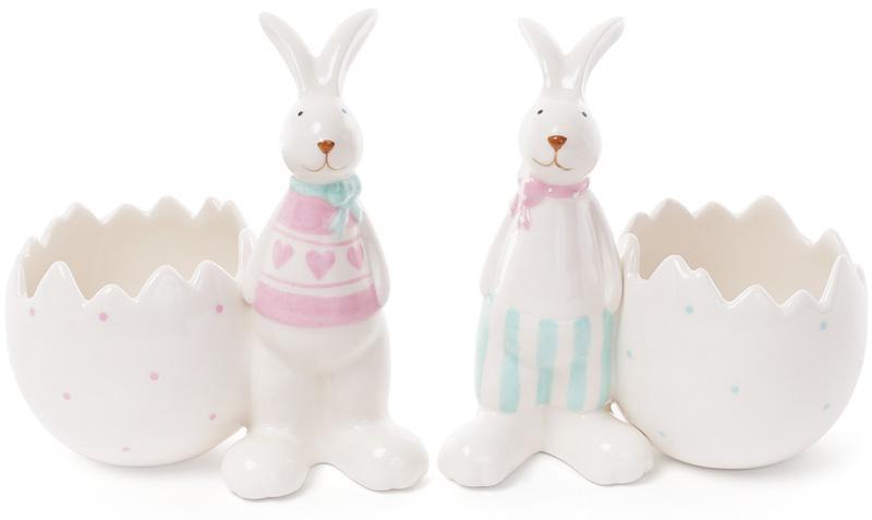 """Статуэтка-кашпо """"Кролик у разбитого яйца"""" 13.7х10.2х14.6см"""