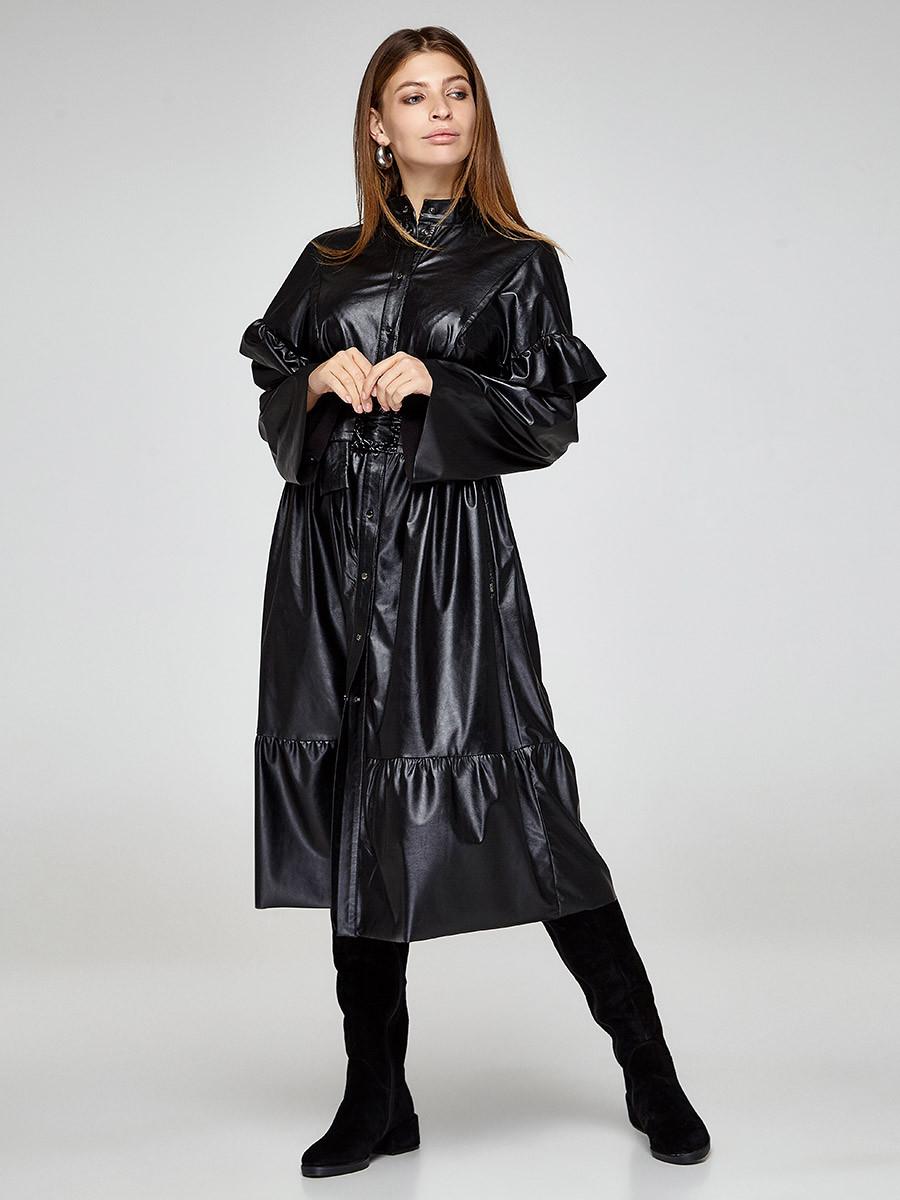 2375 платье Небиола кожа, черный (S)
