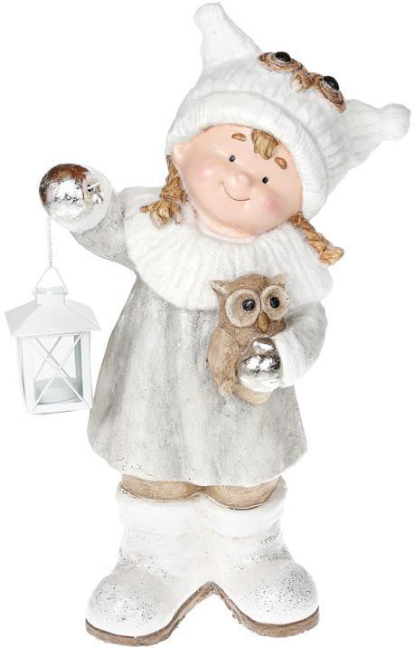 """Фигура керамическая """"Малышка в белой шапке с совой"""" 50.8см"""