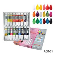 Набор художественных акриловых красок в тубах тюбиках для ногтей живописи рисования (18 цветов по 12 мл)