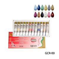 Акриловые краски в тубе GCR-00 с блестками  (12 цветов по 12 мл),