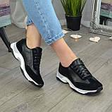 Кроссовки женские на шнурках, из натуральной замши и кожи черного цвета, фото 2