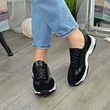 Кроссовки женские на шнурках, из натуральной замши и кожи черного цвета, фото 3