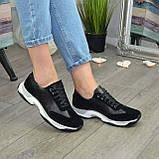 Кроссовки женские на шнурках, из натуральной замши и кожи черного цвета, фото 4