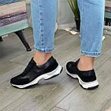 Кроссовки женские на шнурках, из натуральной замши и кожи черного цвета, фото 5