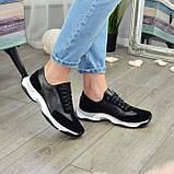 Кроссовки женские на шнурках, из натуральной замши и кожи черного цвета, фото 7