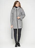 Короткое женское пальто (весна-осень) с капюшоном, в маленьких размерах, серое (38-46)