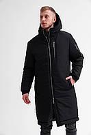 Парка мужская зимняя Snegovik до - 30*С черная теплая Куртка Пальто удлиненная пуховик мужской | ЛЮКС качества