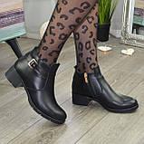Ботинки кожаные женские на невысоком каблуке, фото 2