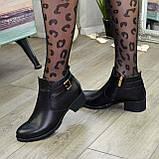 Ботинки кожаные женские на невысоком каблуке, фото 4