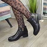 Ботинки кожаные женские на невысоком каблуке, фото 3