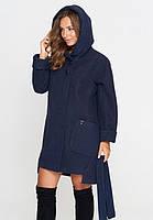 Короткое женское пальто (весна-осень) с капюшоном, синее (40-52)