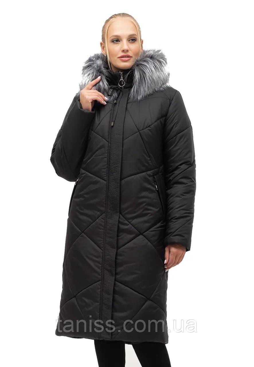 Жіночий зимовий пуховик великого розміру, знімний капюшон, р-ри з 52 по 70, чорний хутро (150)