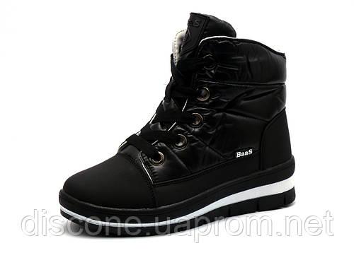 """Зимние кроссовки """"BaaS"""", высокие, на меху, черные"""