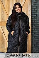 Стеганое пальто прямого кроя с капюшоном, рукавами на эластичных манжетах Размеры: 50, 52, 54, 56-58, 60-62