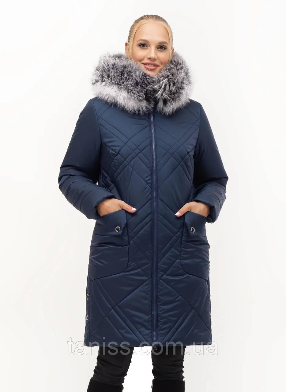 Жіночий зимовий пуховик великого розміру, капюшон вшитий, р-ри з 46-58, синій чбк (155)