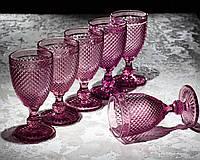 Набор бокалов «Рубин», 250 мл, 9×8×15,5 см, 6 шт, цвет розовый