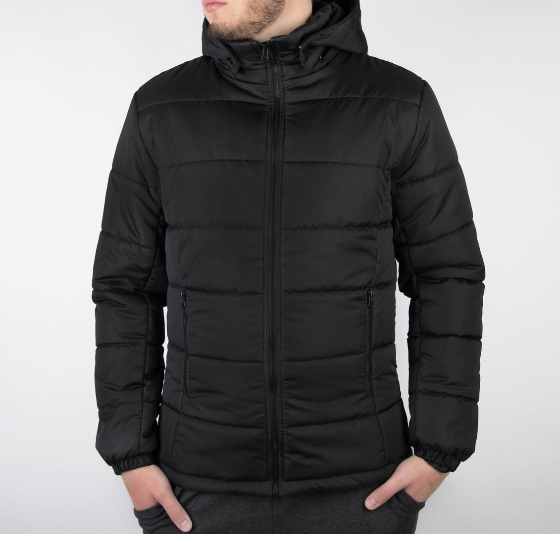 Мужская черная короткая зимняя куртка стеганая.Мужской черный пуховик с капюшоном демисезонный