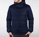 Мужская черная короткая зимняя куртка стеганая.Мужской черный пуховик с капюшоном демисезонный, фото 2