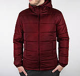 Мужская черная короткая зимняя куртка стеганая.Мужской черный пуховик с капюшоном демисезонный, фото 3